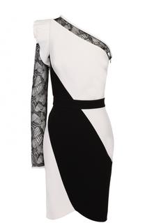 Приталенное мини-платье с открытым плечом и кружевной вставкой Elie Saab
