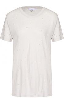 Льняная футболка прямого кроя с перфорацией Iro