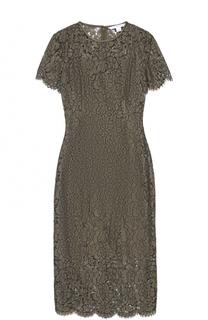 Кружевное приталенное платье-миди с коротким рукавом Diane Von Furstenberg