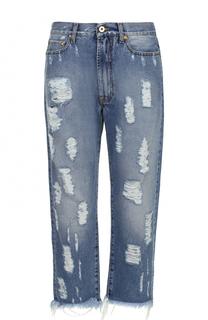 Укороченные джинсы свободного кроя с декоративными потертостями Fausto Puglisi