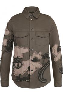 Хлопковая куртка на кнопках с аппликациями Valentino