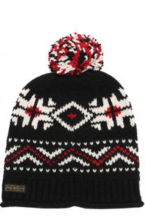 Шерстяная вязаная шапка с помпоном Polo Ralph Lauren