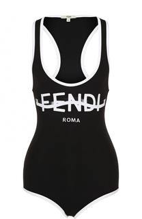 Слитный купальник с контрастной отделкой и логотипом бренда Fendi