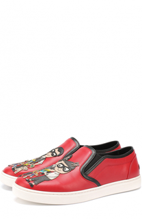 Кожаные слипоны London с аппликациями Dolce & Gabbana