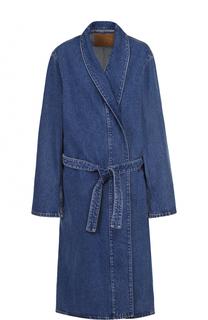 Джинсовое пальто прямого кроя с поясом Balenciaga