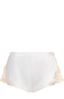 Шелковые шорты с завышенной талией и контрастной кружевной отделкой La Perla