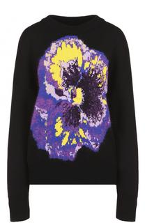 Пуловер прямого кроя с контрастным цветочным принтом Christopher Kane