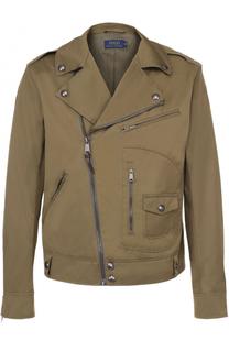 Хлопковая куртка с косой молнией и отложным воротником Polo Ralph Lauren
