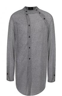 Удлиненная рубашка из смеси хлопка и льна ассиметричного кроя Lost&Found Lost&Found
