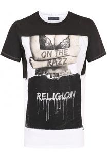 Хлопковая футболка с контрастным принтом и прострочкой Religion