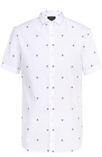 Хлопковая рубашка с короткими рукавами и контрастной вышивкой Philipp Plein