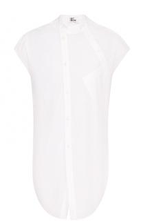 Удлиненная хлопковая рубашка с короткими рукавами ассиметричного кроя Lost&Found Lost&Found