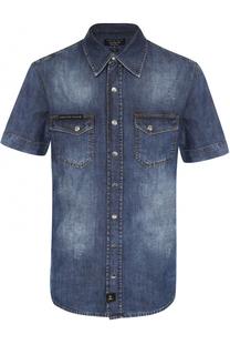 Джинсовая рубашка на кнопках с короткими рукавами Philipp Plein