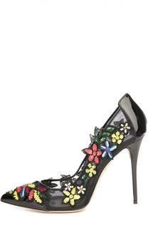 Кожаные туфли Alyssa с аппликациями Oscar de la Renta