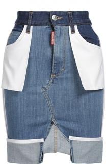 Джинсовая юбка асимметричного кроя с накладными карманами Dsquared2