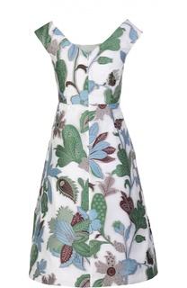 Приталенное платье с круглым вырезом и растительным принтом Tory Burch