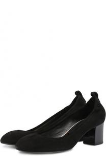 Замшевые туфли на устойчивом каблуке Lanvin