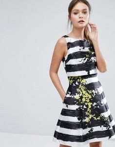 Короткое приталенное платье в полоску с цветами Coast Doree - Мульти