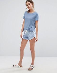 Спортивные шорты с эффектом кислотной стирки New Look - Синий