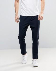 Суженные книзу укороченные брюки с эластичным поясом Selected Homme - Темно-синий
