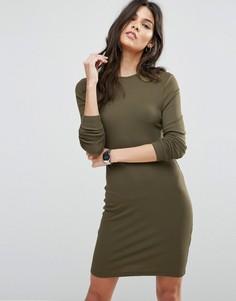 Облегающее платье мини в рубчик с длинными рукавами ASOS - Зеленый