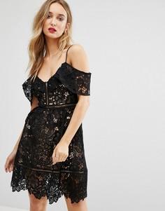 Ажурное платье с открытыми плечами New Look Premium - Черный