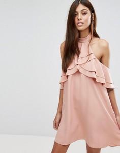 Платье мини с оборками и высокой горловиной New Look - Бежевый