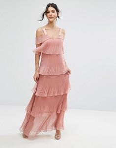 Ярусное плиссированное платье макси с открытыми плечами True Decadence - Розовый