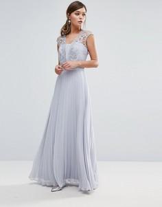 Светло-серое платье макси с плиссировкой Coast Lori Arlie - Серый