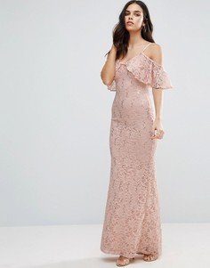 Кружевное платье макси с открытыми плечами Jessica Wright - Кремовый