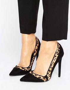 Туфли-лодочки с контрастным леопардовым принтом Paper Dolls - Черный