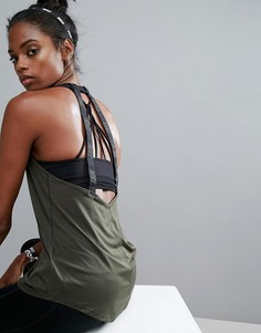 Майка цвета хаки с двумя бретельками из ленты на спине Nike Elastika - Зеленый