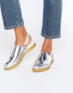 Miista Ellie Slingback Metallic Sandal - Серебряный