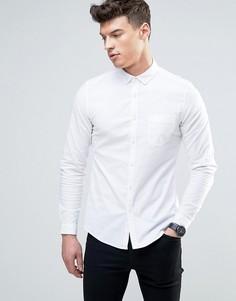 Белая оксфордская рубашка из эластичной ткани узкого кроя ASOS - Белый