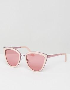 Солнцезащитные очки кошачий глаз с металлической оправой и розовыми стеклами ASOS - Розовый