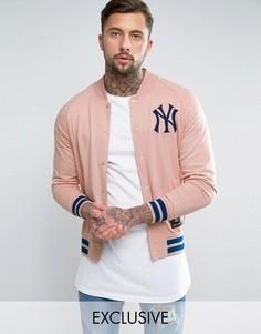 Флисовая университетская куртка Majestic Yankees эксклюзивно для ASOS - Розовый