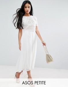 Платье миди с кроп-топом ASOS PETITE - Кремовый