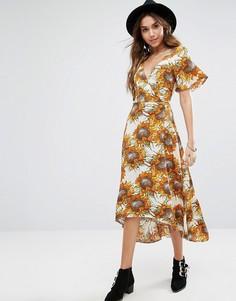Чайное платье миди с запахом и подсолнухами Kiss The Sky - Желтый