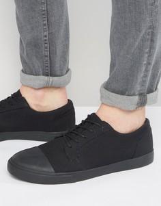 Черные кеды на шнуровке с накладкой на носке ASOS - Черный