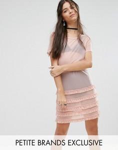 Платье с оборкой по краю Glamorous Petite - Розовый