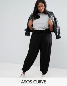 Широкие трикотажные брюки со сборками ASOS CURVE - Черный