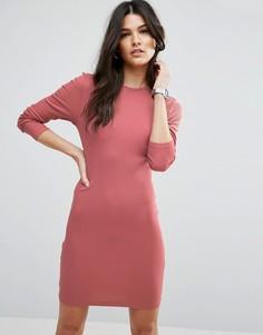 Облегающее платье мини в рубчик с длинными рукавами ASOS - Красный