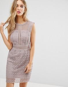 Кружевное цельнокройное платье New Look - Серый
