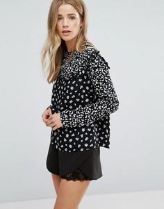 Блузка с принтом и оборками New Look - Черный