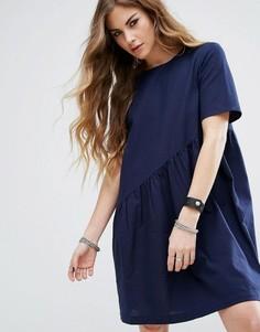 Свободное асимметричное платье Noisy May - Темно-синий