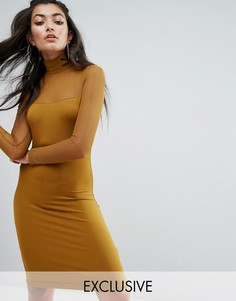 Облегающее сетчатое платье Puma эксклюзивно для ASOS - Зеленый