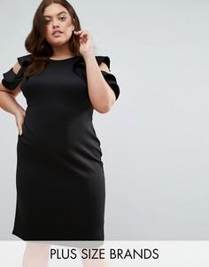Платье с оборками на плечах Club L Plus - Черный