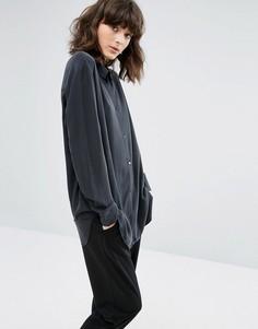 Бархатистая рубашка из модала Weekday - Черный