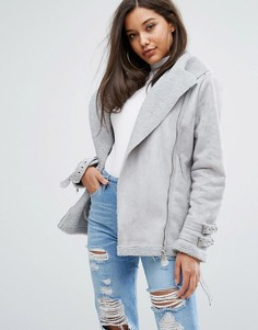 Куртка из искусственной замши PrettyLittleThing - Серый