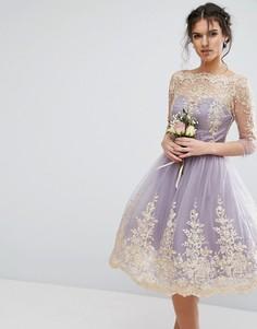 Платье миди из премиум-кружева с рукавами 3/4 Chi Chi London - Фиолетовый